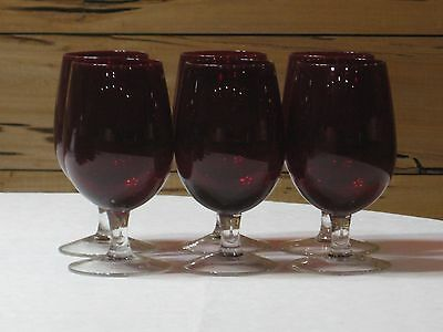 Set of 6 Vintage Ruby Red Footed 16 Oz. Goblets with Clear Stem & Base   MINT