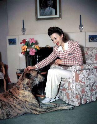 Carole Landis UNSIGNED photo - H3718 - With her dog