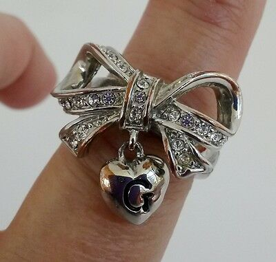 Vintage Guess Heart Dangle Clear Rhinestone Bow Silver Tone Ring Size 7