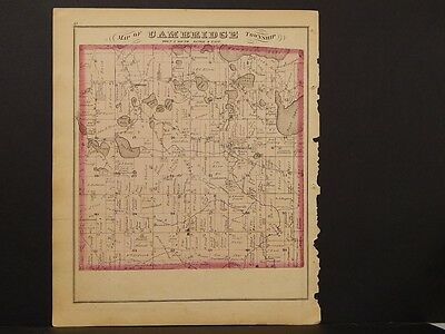 Michigan Lenawee County Map 1874 Township of Cambridge Double Sided K3#61
