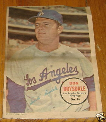 topps poster inserts 1967 # 16  don drysdale