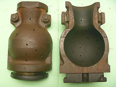 Globe Shaped 2 Piece Cast Iron Foundry Obsolete Incandescant Light Bulb Mold