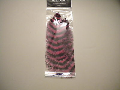 OPST  Hot Pink Black Barred Ostrich Feathers (2)