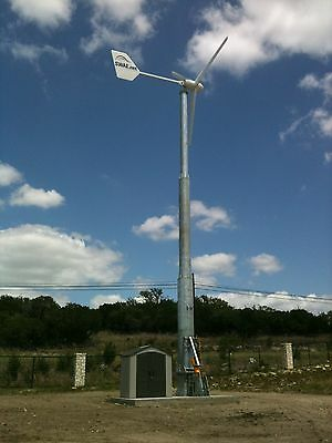 10KW, Passive Furling,  Wind Turbine System with 60' Free Standing Tower