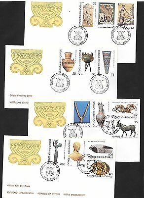 Cyprus 1980 Archaeological Treasures set 4 covers First Day Covers