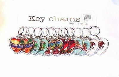12 X Puerto Rico HEART Key Chain Holder Souvenirs Rican holder WHOLESALE 1 DOZEN