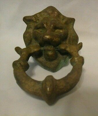 Small Vintage Brass Lion's Head Door Knocker/drawer Pull