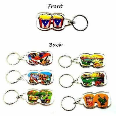 12 X Puerto Rico SHIRT Key Chain Holder Souvenirs Rican holder WHOLESALE 1 DOZEN