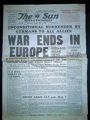 Original Sun Melbourne Newspaper War Ends in Europe WW2 8 May 1945 Full 16 pages