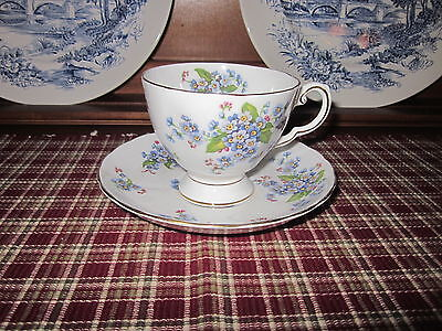 Tuscan ~ Forget~Me~Not ~ Fine English Bone China ~ Cup & Saucer ~ Gold Trim