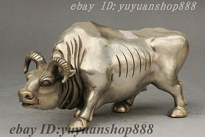 Folk Collect China Silver Animal Sturdy Strong Bull Oxen Lucky Figurines Statue