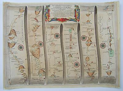 Monmouth to Burton Ferry: antique road map by John Ogilby, 1676