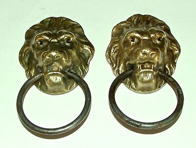 Pair of Brass/Bronze Lions Heads with handles