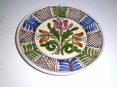 Vintage YELLOW WARE POTTERY FLORAL PLATE DISH FOLK ART hand painted