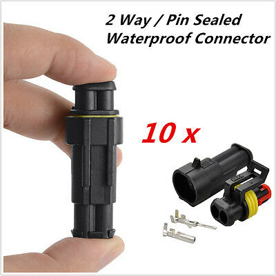 10 Kits 2 Pins 2Way Car Auto Truck Waterproof Seal Electrical Wire Connector Plu