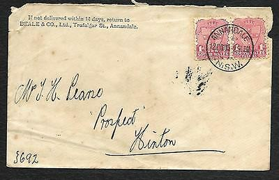 'rare Item' Envelope With Nsw 1D Pair Nice P/mark1907 Annandale With Advertising