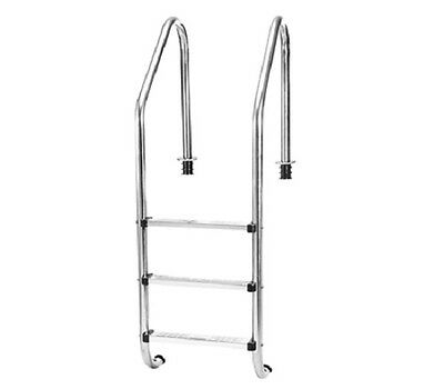 NEW Deluxe Stainless Steel 3 Step In-Ground Swimming Pool Ladder, Universal Fit