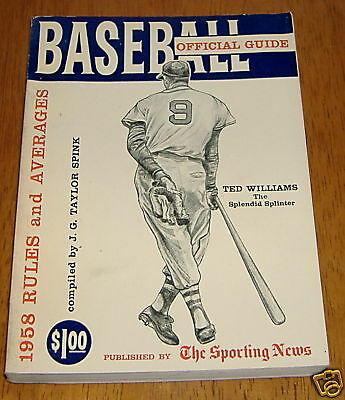 the sporting news baseball guide 1958  ted williams