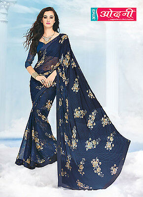 Indian Bollywood Style Designer Printed Border Blue Georgette Party Wear Saree