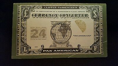 1961Pan American World Airway Paa Pocket Size Currency Converter
