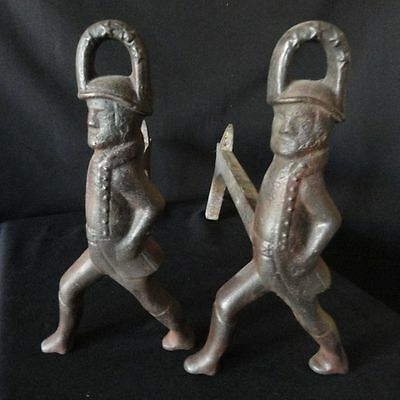 Antique Pair Of Soldiers Andirons Black Cast Iron  With Support Legs