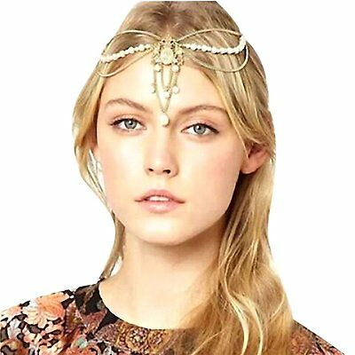 B3 Fashion Women Metal Chain Jewelry Headband Head Hair Band Tassels Pearl