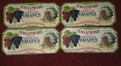 4 Colorful Antique Sagamore Seneca Lake Grapes Indian Grape Labels Hector, Ny