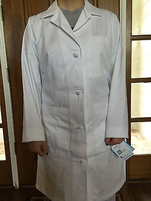 Women's Meta White Knotted Button Lab Coats 100%Cotton for 13.75ea Sizes 4,6 &14
