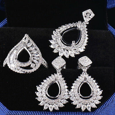 Natural Diamond Wedding Jewelry Sets Ring & Pendant & Earrings in 18K White Gold