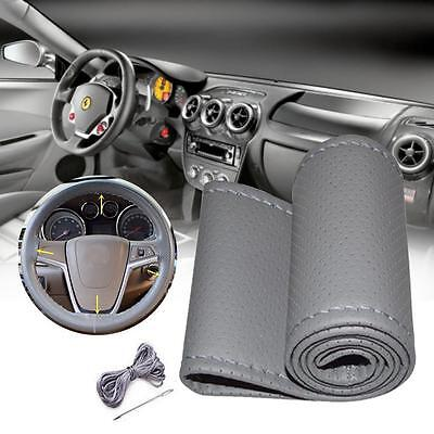 Universal PU Leather DIY Car Steering Wheel Cover With Needle & Thread Gray GY