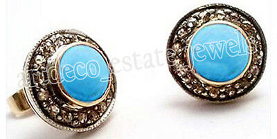 1.20ct ROSE CUT DIAMOND TURQUOISE .925 SILVER EARRING