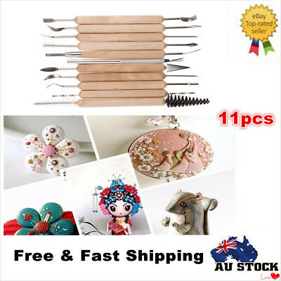 11pcs Clay Pottery Tools Sculpture Plasticine Carving Tool Set Stainless Steel
