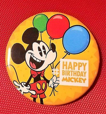 *New Walt Disney Park Happy Birthday Mickey Mouse Button - Badge Pin