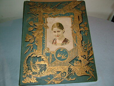 Antique Album with Advertising Cards,Trading Cards,Hand Stitched Pictures
