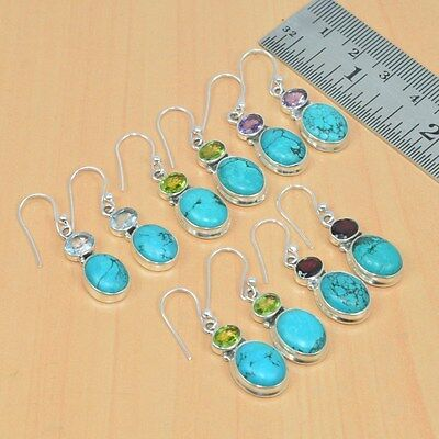 925 Solid Sterling Silver Wholesale 5Pair Natural Turquoise Mix Stoneearring Lot