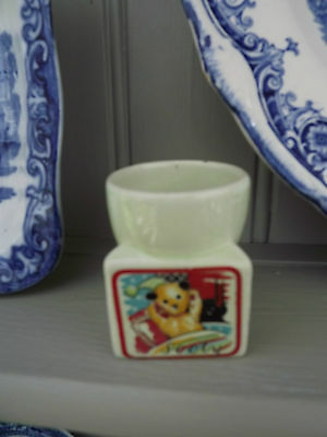 Vintage Sooty Keele St Pottery Eggcup showing Sooty in bed on TV