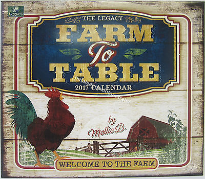 2017 Legacy Wall Calendar Farm to Table by Mollie B. Fits Timber Frame