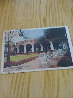 postcard used dated 1923 vichy carlton hotel 4 stamp marks
