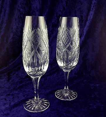 Royal Brierley Crystal ~ Chester ~ Pair Large Champagne Flutes ( Rare )