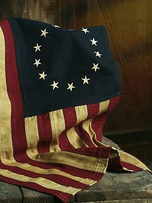 """Tea-Dyed Betsy Ross Flag 17X28"""" Aged Primitive Patriotic American"""
