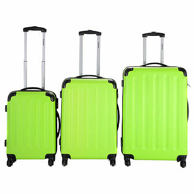 New 3 Pcs Luggage Travel Set Bag ABS+PC Trolley Suitcase Green