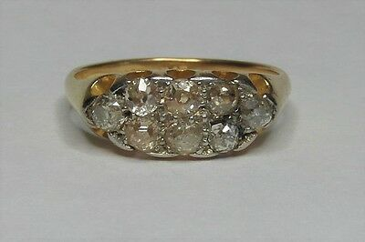 18ct Gold Platinum 0.50ct Old Cut Diamond Cluster Ring Size O 1/2