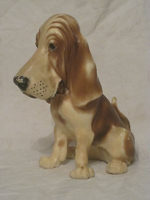 vintage hound dog figure ornate 3d hard plastic k9 pup statue 7.25""