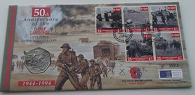 1994 D-Day Landings PNC 5 Stamps and 50p Coin