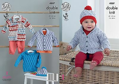 KINGCOLE 4807 BABY DK KNITTING PATTERN  16-24 IN -not the finished garments