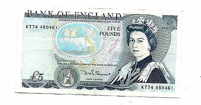 Bank of England (P378c) 5 Pounds 1980 Somerset F+/aVF