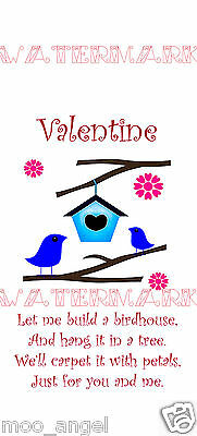 Valentine card topper large tag 4 per A4 x 2 sheets cardmaking scrapbook