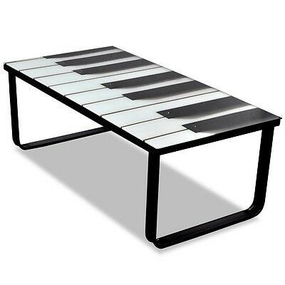 #sNEW Glass Coffee Table Piano Printing Metal Side Coffee End Table Living Room
