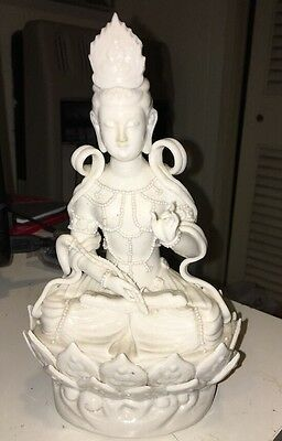 Vintage Chinese Porcelain Buddha Statue 8 3/8 Inch Looks Good
