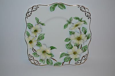 Vintage Tuscan Fine English Bone China Cake Plate Dogwood Square